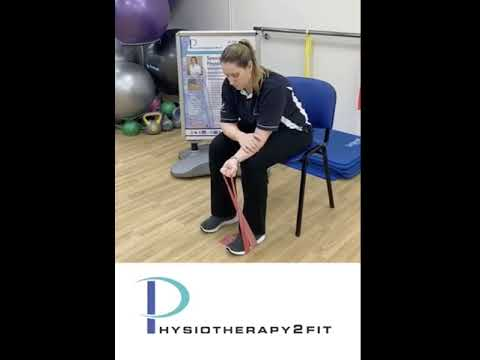 Wrist strength into flexion with Theraband